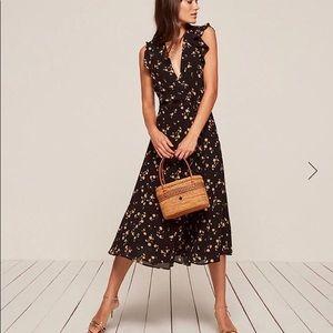 Reformation Hillary Midi Wrap Dress (Size XS)